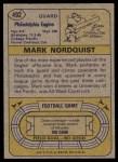 1974 Topps #492  Mark Nordquist  Back Thumbnail