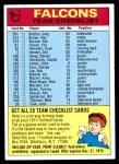 1974 Topps  Checklist   Atlanta Falcons Team Front Thumbnail
