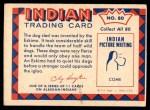 1959 Fleer Indian #80   Eskimo dog sled Back Thumbnail