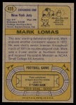 1974 Topps #455  Mark Lomas  Back Thumbnail