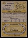 1974 Topps #512  Joe Ferguson  Back Thumbnail
