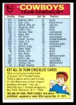 1974 Topps  Checklist   Dallas Cowboys Team Front Thumbnail