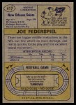 1974 Topps #417  Joe Federspiel  Back Thumbnail