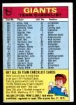 1974 Topps  Checklist   New York Giants Team Front Thumbnail