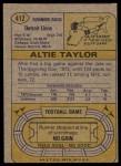 1974 Topps #412  Altie Taylor  Back Thumbnail