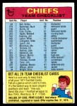 1974 Topps  Checklist   Kansas City Chiefs Team Front Thumbnail