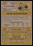 1974 Topps #312  John Richardson  Back Thumbnail