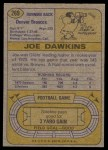 1974 Topps #269  Joe Dawkins  Back Thumbnail