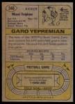 1974 Topps #340  Garo Yepremian  Back Thumbnail