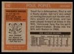 1972 Topps #142  Poul Popiel  Back Thumbnail