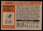 1972 Topps #102  Barry Wilkins  Back Thumbnail
