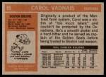 1972 Topps #85  Carol Vadnais  Back Thumbnail