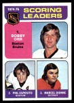 1975 Topps #210   -  Bobby Orr / Phil Esposito / Marcel Dionne Scoring Leaders Front Thumbnail