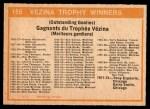 1972 O-Pee-Chee #155   Vezina Trophy Winners Back Thumbnail