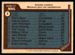 1977 O-Pee-Chee #2   -  Guy LaFleur / Marcel Dionne / Larry Robinson / Borje Salming / Tim Young Assists Leaders Back Thumbnail