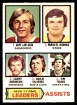 1977 O-Pee-Chee #2   -  Guy LaFleur / Marcel Dionne / Larry Robinson / Borje Salming / Tim Young Assists Leaders Front Thumbnail
