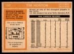 1972 O-Pee-Chee #197  Tim Horton  Back Thumbnail