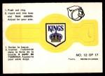 1973 O-Pee-Chee Rings #12   Kings Front Thumbnail