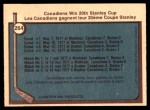 1977 O-Pee-Chee #264   Stanley Cup Finals - Canadiens Win 20th Stanley Cup Back Thumbnail