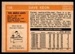 1972 O-Pee-Chee #108  Dave Keon  Back Thumbnail