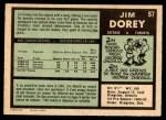 1971 O-Pee-Chee #57  Jim Dorey  Back Thumbnail