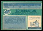 1976 O-Pee-Chee NHL #285  Ed Johnston  Back Thumbnail