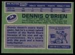 1976 Topps #34  Dennis O'Brien  Back Thumbnail