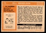 1972 O-Pee-Chee #79  Bill Mikkelson  Back Thumbnail