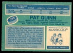 1976 O-Pee-Chee NHL #289  Pat Quinn  Back Thumbnail