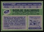 1976 Topps #22  Borje Salming  Back Thumbnail