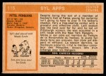 1972 O-Pee-Chee #115  Syl Apps  Back Thumbnail