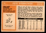 1972 O-Pee-Chee #78  Pete Stemkowski  Back Thumbnail