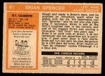 1972 O-Pee-Chee #61  Brian Spencer  Back Thumbnail