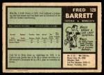 1971 O-Pee-Chee #128  Fred Barrett  Back Thumbnail