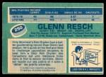 1976 O-Pee-Chee NHL #250  Glenn Resch  Back Thumbnail