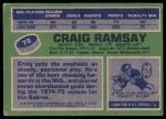 1976 Topps #78  Craig Ramsay  Back Thumbnail