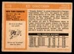 1972 O-Pee-Chee #173  Ed Giacomin  Back Thumbnail