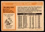 1972 O-Pee-Chee #92  Jacques Plante  Back Thumbnail
