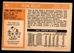 1972 O-Pee-Chee #36  Ron Ellis  Back Thumbnail
