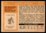 1972 O-Pee-Chee #188  Darryl Sittler  Back Thumbnail