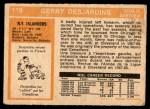 1972 O-Pee-Chee #119  Gerry Desjardins  Back Thumbnail