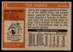1972 Topps #23  Ted Harris  Back Thumbnail