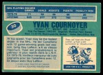 1976 O-Pee-Chee NHL #30  Yvan Cournoyer  Back Thumbnail