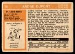 1972 O-Pee-Chee #16  Andre Dupont  Back Thumbnail