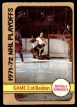 1972 O-Pee-Chee #7   Playoff Game 1 - Bruins / Rangers Front Thumbnail