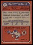1973 Topps #31  Randy Vataha  Back Thumbnail