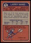 1973 Topps #93  Larry Hand  Back Thumbnail