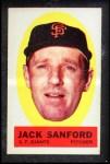 1963 Topps Peel-Offs #39  Jack Sanford  Front Thumbnail