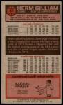 1976 Topps #87  Herm Gilliam  Back Thumbnail