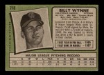 1971 Topps #718  Billy Wynne  Back Thumbnail